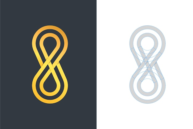 Logo in twee versies gouden ontwerp