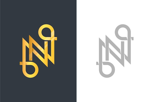 Logo in twee versies gouden stijl