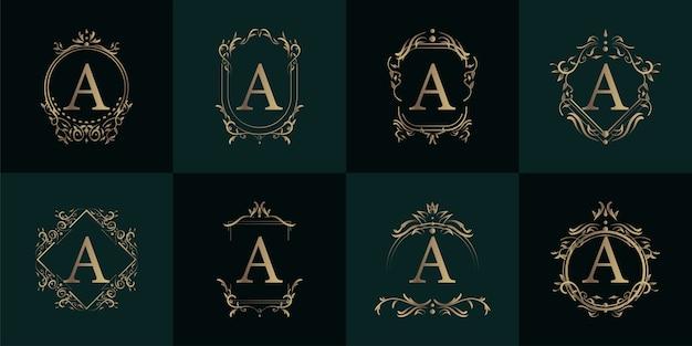 Logo initiaal a met luxe ornament of bloemframe, vastgestelde collectie.