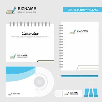 Logo, kalendersjabloon, cd cover, dagboek en usb-merk schrijven stationaire pakket vector ontwerpsjabloon