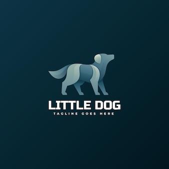 Logo kleine hond kleurovergang kleurrijke stijl.