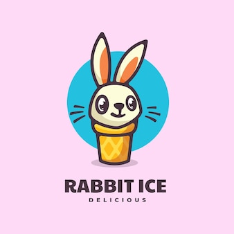 Logo konijn eenvoudige mascotte stijl.