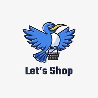 Logo laten we winkelen in eenvoudige mascotte-stijl.