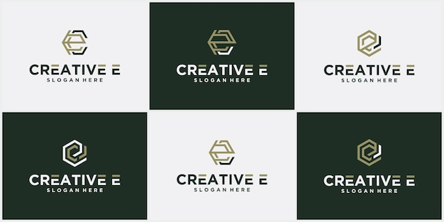 Logo letter e logo zeshoekige lint lijn, pictogram, symbool oneindig lijn letter eerste e logo ontwerpsjabloon