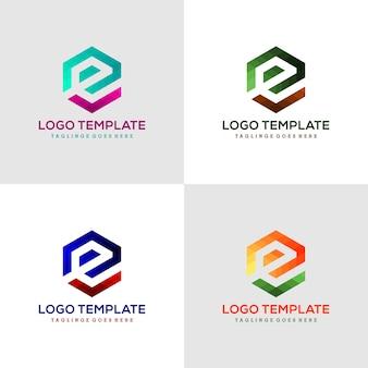 Logo letter e zeshoekige lint lijn logo, pictogram, symbool