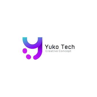 Logo letter y minimalistische lijnkunsttechnologie