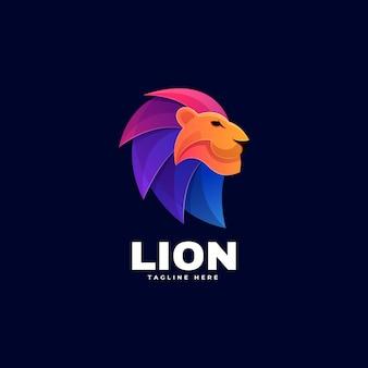 Logo lion gradient kleurrijke stijl.