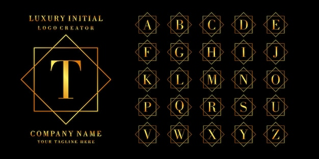 Logo-maker: set letters of eerste logo-ontwerp, gouden kleur