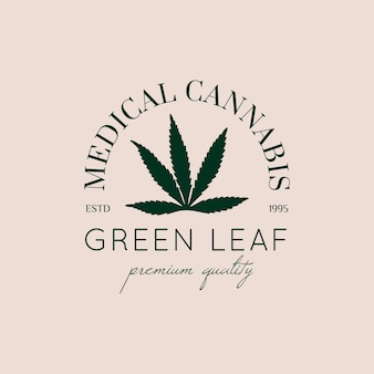 Logo marihuana leaf in een trendy minimalistische lineaire stijl. badge van medische cannabis groen blad silhouet. vector icoon van hennep voor branding, webdesign, verpakking