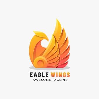 Logo mascotte eagle wings gradient kleurrijke stijl.