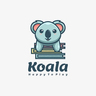 Logo mascotte koala eenvoudige mascotte stijl.