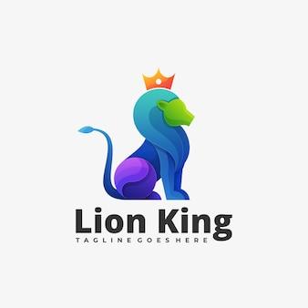 Logo mascotte lion king gradient kleurrijke stijl.