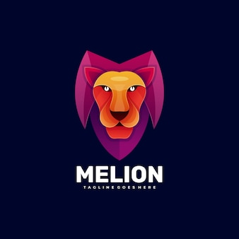 Logo mascotte lion kleurovergang kleurrijke stijl.