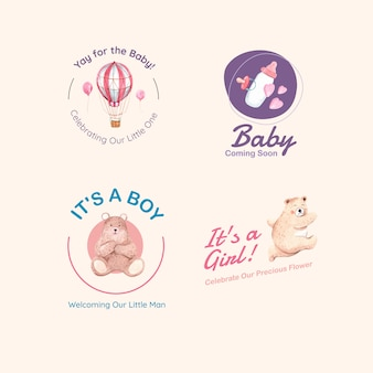 Logo met baby shower ontwerpconcept voor merk en marketing aquarel vectorillustratie.