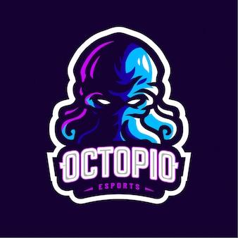 Logo met blauwe octopus-mascotte