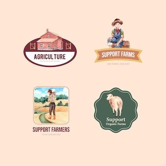 Logo met boerderij biologische conceptontwerp aquarel illustratie.