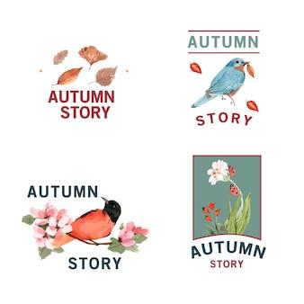 Logo met herfst bos en dieren