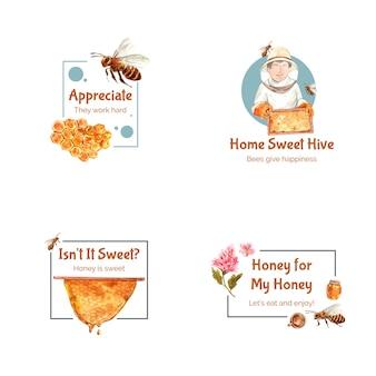 Logo met honing voor branding en marketing aquarel