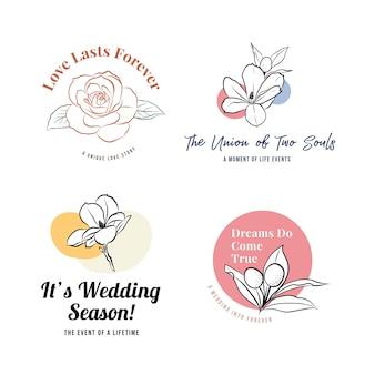 Logo met huwelijksceremonie voor branding en pictogram