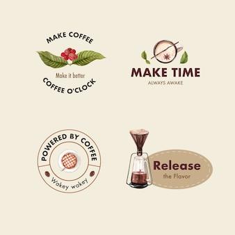 Logo met internationale koffiedag conceptontwerp voor branding en marketing aquarel
