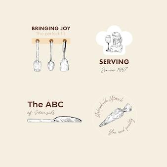 Logo met keukenapparatuur conceptontwerp voor branding en marketing vectorillustratie