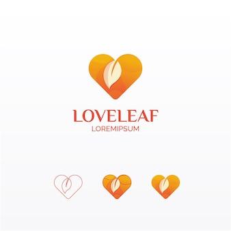 Logo met liefdesbladverloop