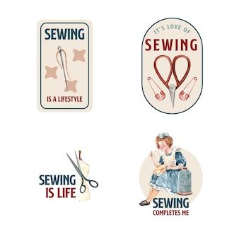 Logo met naaien conceptontwerp aquarel illustratie.