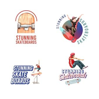 Logo met skateboard ontwerpconcept voor merk en marketing aquarel vectorillustratie.