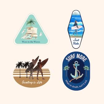 Logo met surfplanken op het strand