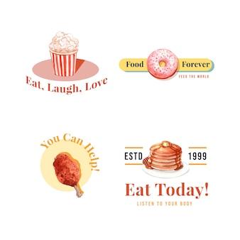 Logo met wereldvoedseldag conceptontwerp voor restaurant en branding aquarel
