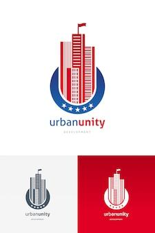 Logo met wolkenkrabbers