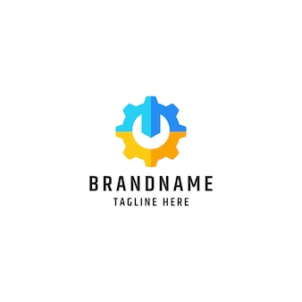 Logo moersleutel en vistuig. ontwerpsjabloon voor service en reparatie-tool