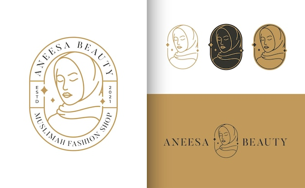 Logo muslimah hijab lijntekeningen mode-logo en visitekaartje ontwerp
