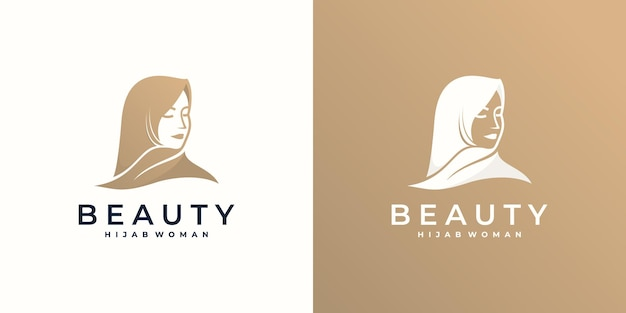 Logo muslimah hijab met bladsymbool, mode-logo Premium Vector
