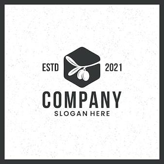 Logo olijfolie, zwart en wit, gezondheid, schoonheid, met een zeshoekig concept