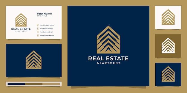 Logo onroerend goed voor bouw, huis, appartement, modern huis