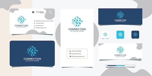 Logo ontwerp abstract connect en visitekaartje ontwerp