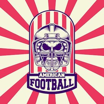 Logo ontwerp amerikaans voetbal met retro-stijl