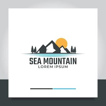 Logo-ontwerp bergzonsopgang met dennenboommeer