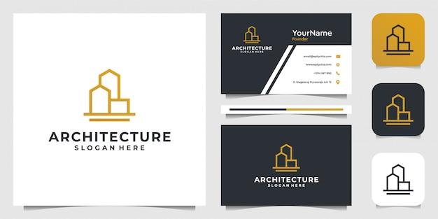 Logo-ontwerp bouwen in lijnstijl. goed voor onroerend goed, architectuur, reclame, merk en visitekaartje