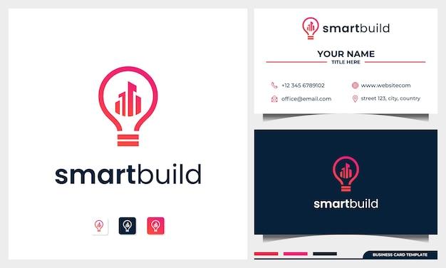 Logo-ontwerp bouwen met gloeilamp concept en sjabloon voor visitekaartjes