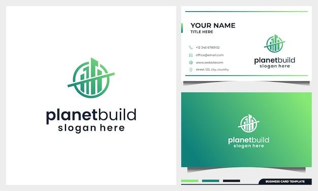 Logo-ontwerp bouwen met planeetruimte concept en sjabloon voor visitekaartjes