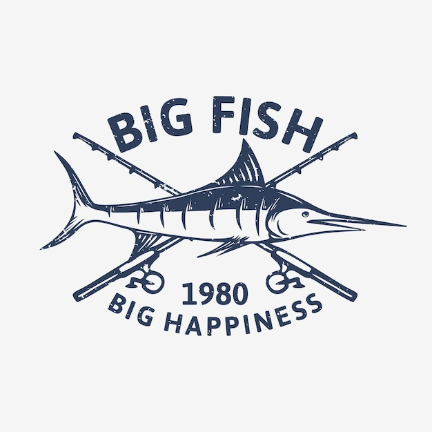 Logo ontwerp grote vissen groot geluk 1980 met marlijn vis vintage illustratie