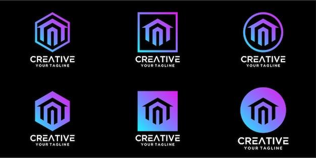 Logo-ontwerp huis gecombineerd met letter a-sjabloonontwerp