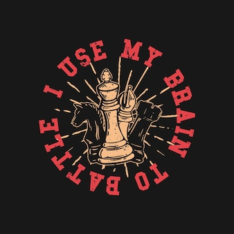 Logo ontwerp ik gebruik mijn brein om te vechten met schaken vintage illustratie