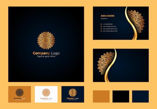 Logo ontwerp inspiratie, luxe cirkelvormige bloemen mandala en bladelement, luxe visitekaartje ontwerp met sierlogo