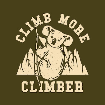 Logo ontwerp klim meer klimmer met koala klimmen een touw vintage illustratie