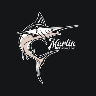 Logo ontwerp marlijn visserijclub met marlijn vissen vintage illustratie