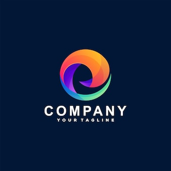 Logo-ontwerp met abstracte cirkelverloop