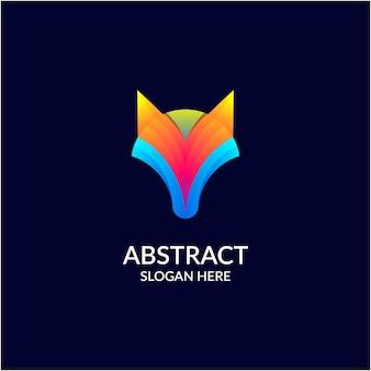 Logo ontwerp met abstracte vos gradiëntkleur